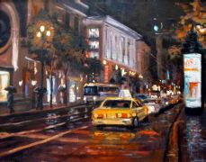 impressionism art,city art,oil painting,San Francisco Rain