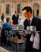 impressionism art,people art,oil painting,Le Serveur