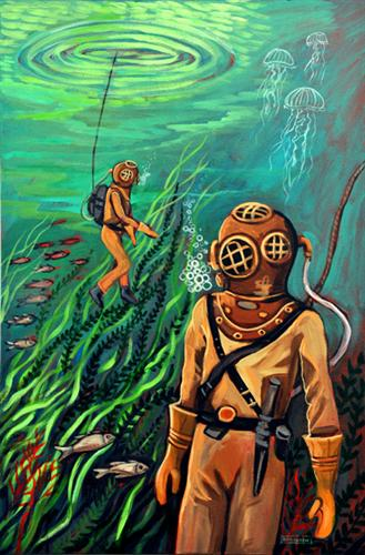 fantasy art,pop culture art,seascape art, acrylic painting, Flynn And The Deep Blue Sea
