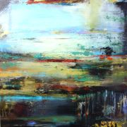 Abstract art,Expressionism art,acrylic painting,Urban Twilight
