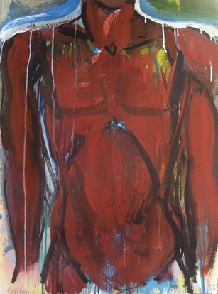 expressionism art,people art, acrylic painting, Red Torso