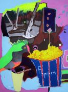 Abstract art,Expressionism art,acrylic painting,Popcorn