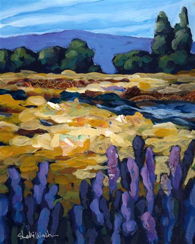 impressionism art,landscape art, acrylic painting, Fall Creek