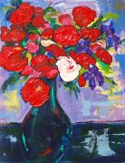 expressionism art,still life art,botanical art,oil painting,Roses in Blue Vase