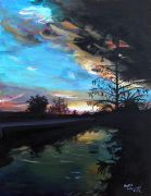landscape art,nature art,acrylic painting,Everglades Sunset