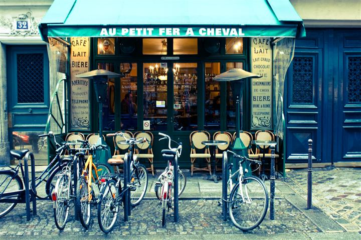 Original art for sale at UGallery.com | Paris Cafe in the Marais by Rebecca Plotnick | $250 | photography | 36' h x 24' w | ..\art\photography-Paris-Cafe-in-the-Marais