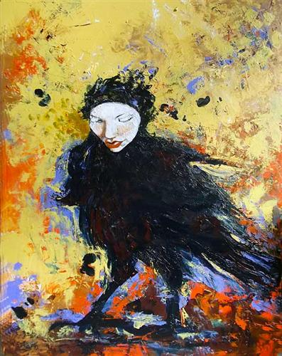 Original art for sale at UGallery.com | Raven Queen by Eva Lewarne | $2,000 | acrylic painting | 40' h x 30' w | http://www.ugallery.com/acrylic-painting-raven-queen