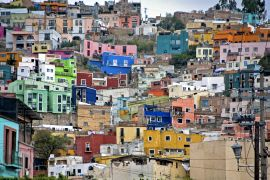 buildings art,city art,photography,Hillside, Guanajuato, Mexico