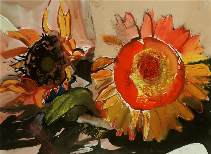 Original art for sale at UGallery.com | Sunflowers by Carolyn Schlam | $25 | archival print | 1' h x 1' w | http://www.ugallery.com/oil-painting-sunflowers-208994