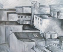 buildings art,city art,acrylic painting,Rooftop View
