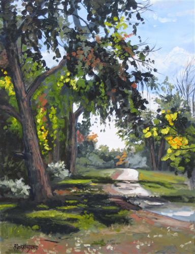 landscape art,nature art, acrylic painting, High Line Pathway