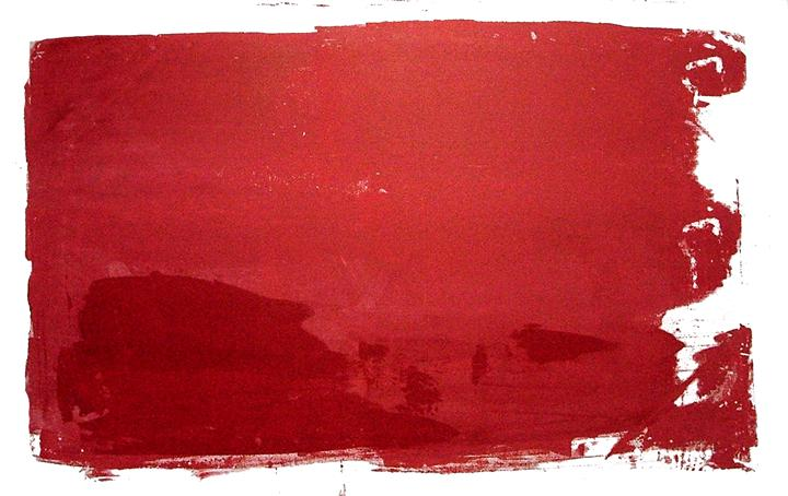 abstract art, printmaking, Untitled (red on red)