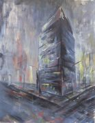buildings art,city art,acrylic painting,Standing Alone