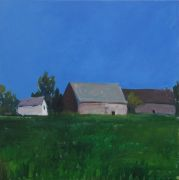 buildings art,landscape art,acrylic painting,Cluster of Barns, France