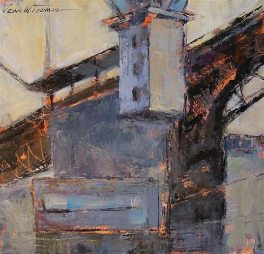 buildings art,impressionism art, acrylic painting, Bridge Tower