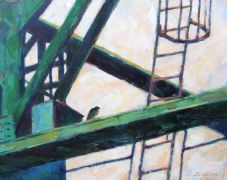 buildings art,impressionism art,acrylic painting,Falcon Nesting Box, I-5 Bridge