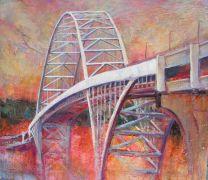 Architecture art,Travel art,mixed media artwork,Fremont Bridge, Portland
