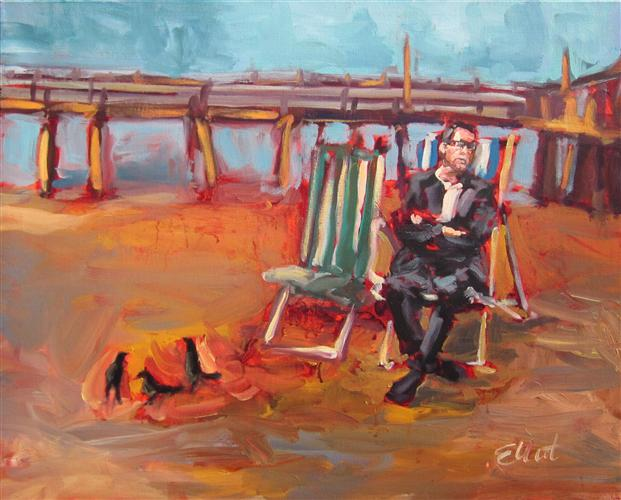 Original art for sale at UGallery.com | Man on the Beach by Elliot Coatney | $650 | acrylic painting | 24' h x 30' w | http://www.ugallery.com/acrylic-painting-man-on-the-beach