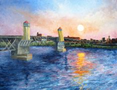 buildings art,travel art,oil painting,Sunrise 2