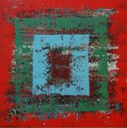 Abstract art,acrylic painting,Red Square