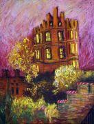 Architecture art,Impressionism art,pastel artwork,Autumn Estate