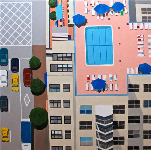 Original art for sale at UGallery.com | NYC Roof Pool by TONI SILBER-DELERIVE | $3,800 |  | 30' h x 30' w | ..\art\acrylic-painting-NYC-Swimming-Pool