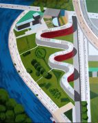 Architecture art,Landscape art,acrylic painting,Federal Snake Building, Berlin