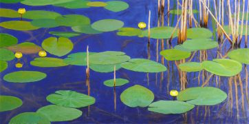 nature art,seascape art,oil painting,Pond Reflections