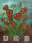 botanical art,acrylic painting,Tiger Lily