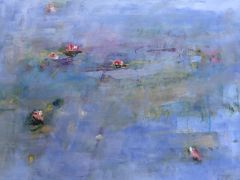 impressionism art,nature art,mixed media artwork,Blue Serenity