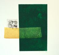 children's art,animals art,printmaking,Deep Green