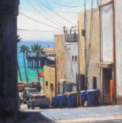 buildings art,seascape art,oil painting,Pier Through an Alley