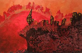 City art,mixed media artwork,The Cliff