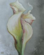 botanical art,oil painting,Calla Lilies in an Embrace