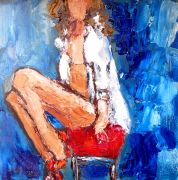 People art,oil painting,Red Bar Stool, Heels and White Shirt