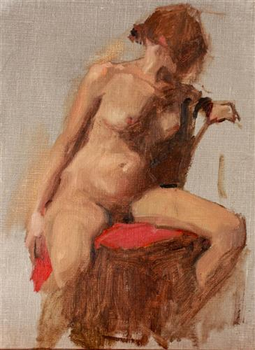 Original art for sale at UGallery.com | Nude with Red by SARA SISUN | $575 | Oil painting | 12' h x 9' w | ..\art\oil-painting-Nude-with-Red