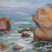 impressionism art,seascape art,oil painting,Off Wedding Rock