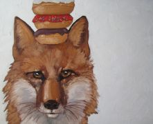children's art,animals art,oil painting,Foxy Stack