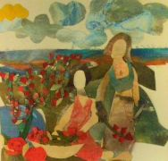 people art,mixed media artwork,Women Gardening