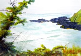 Seascape art,watercolor painting,Incoming Tide