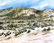 landscape art,western art,watercolor painting,Sun Mountain