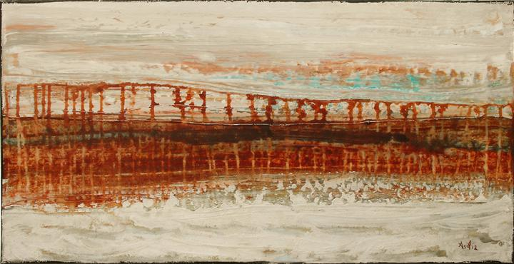 Original art for sale at UGallery.com | Lava Bridge by LISA CARNEY | $700 | Acrylic painting | 12' h x 24' w | ..\art\acrylic-painting-Lava-Bridge