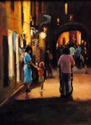 People art,oil painting,Monterosso al Mare (Italy)