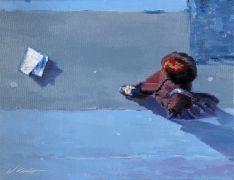 people art,city art,oil painting,Woman Following Newspaper Blowing In Paris Wind