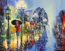 people art,city art,oil painting,Rainy Day
