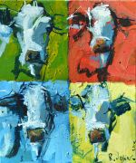 animals art,pop culture art,acrylic painting,Modern Abstract Cow