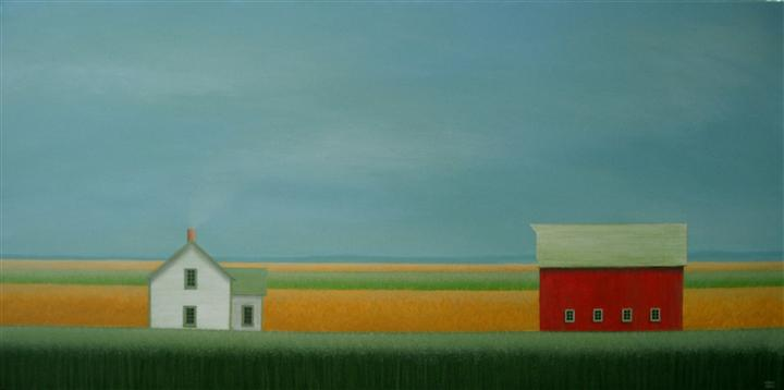 Original art for sale at UGallery.com | In the Quiet Fields by SHARON  FRANCE | $1,375 | Acrylic painting | 18' h x 36' w | ..\art\acrylic-painting-In-the-Quiet-Fields