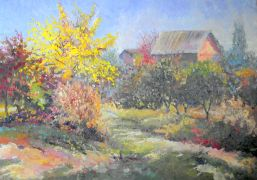 impressionism art,nature art,oil painting,Farm in Fall