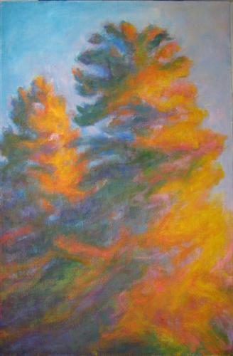 Original art for sale at UGallery.com | Sunset Conifers by NAOKO TADOTSU | $925 | Oil painting | 36' h x 24' w | ..\art\oil-painting-Sunset-Conifers