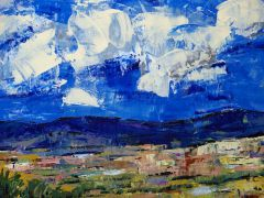 nature art,western art,acrylic painting,Summer Clouds
